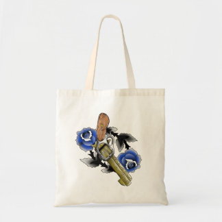 Traditional Six Shooter with Blue Roses Tote Bag