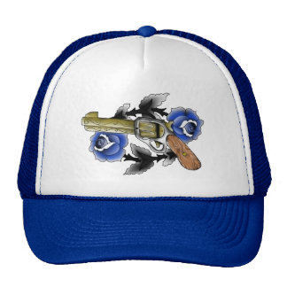 Traditional Six Shooter with Blue Roses Trucker Hat