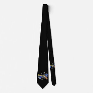 Traditional SixShooter with Blue Roses Neck Tie