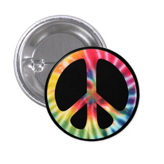 Traditional Sixties Peace Symbol with Tie-Dye Pinback Button