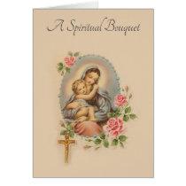 Traditional Spiritual Bouquet Virgin Mary  Card