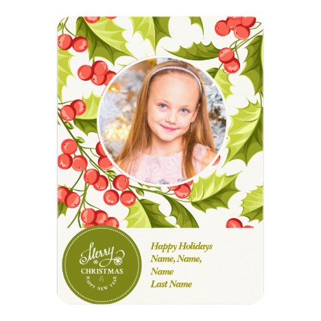 Traditional Style, Christmas Holly  Photo Card