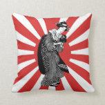 Traditional Style Japanese ukiyoe Lady Throw Pillow