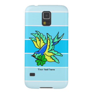 Traditional Swallow Tattoo Cartoon With Shamrock Case For Galaxy S5
