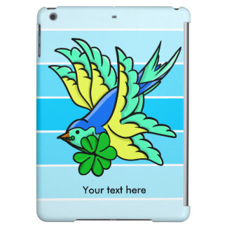 Traditional Swallow Tattoo Cartoon With Shamrock iPad Air Cover
