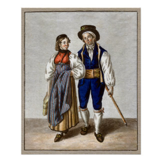 Traditional Swiss Couple from Oberhasli, Bern Poster