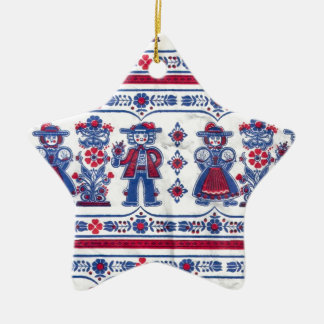Traditional Swiss Folklore pattern Ceramic Ornament