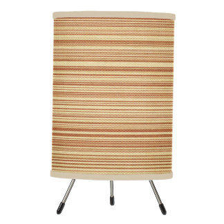 Traditional Tan Striped Bamboo Mat Lamp