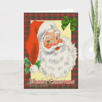 Traditional Tartan Santa Christmas Card