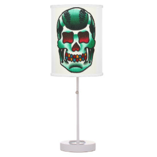 Traditional Tattoo Green Candy Skull Old School Desk Lamp