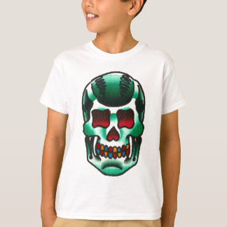 Traditional Tattoo Green Candy Skull Old School T-Shirt