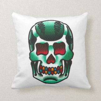 Traditional Tattoo Green Candy Skull Old School Throw Pillow