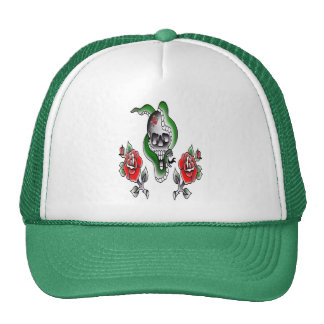 traditional tattooed skull with snake and roses trucker hat