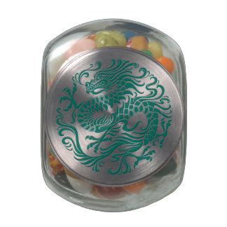 Traditional Teal Blue Chinese Dragon Circle Glass Candy Jar