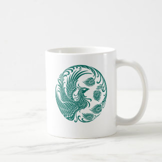 Traditional Teal Blue Phoenix Circle on Red Coffee Mug