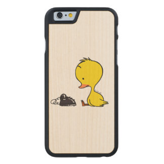 traditional telephone & cute ducky carved maple iPhone 6 slim case