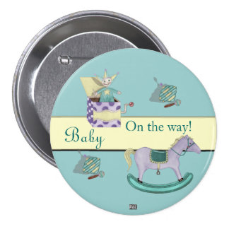 Traditional Toys/Pastel (Baby Shower) 3 Inch Round Button