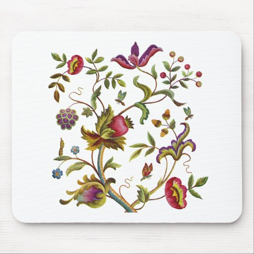 Traditional Tree of Life Embroidery Pattern Mouse Pad