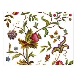 Traditional Tree of Life Embroidery Pattern Postcard