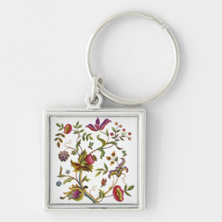 Traditional Tree of Life Embroidery Pattern Silver-Colored Square Keychain
