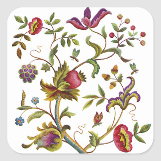 Traditional Tree of Life Embroidery Pattern Square Sticker