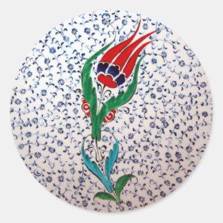 Traditional Tulip Pattern Classic Round Sticker