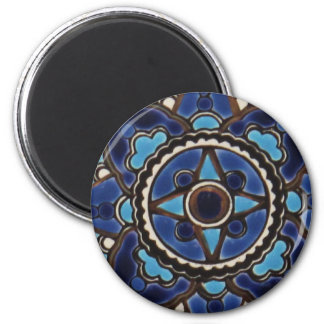 Traditional Turkish  blue and white  tile design 2 Inch Round Magnet