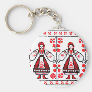 Traditional Ukrainian embroidery ukraine girls Basic Round Button Keychain