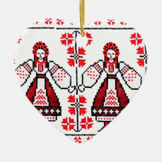 Traditional Ukrainian embroidery ukraine girls Ceramic Ornament