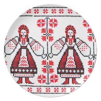 Traditional Ukrainian embroidery ukraine girls Plate