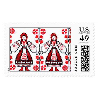 Traditional Ukrainian embroidery ukraine girls Postage Stamp