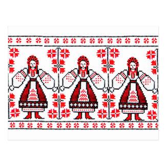 Traditional Ukrainian embroidery ukraine girls Post Card