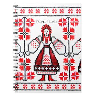 Traditional Ukrainian embroidery ukraine girls Spiral Notebook