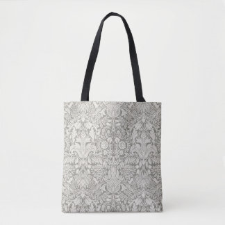 Traditional Understated Formal White Damask Tote Bag