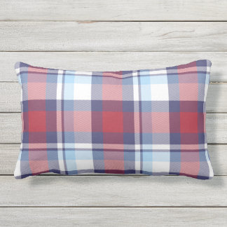 Traditional USA Red White Blue Tartan Pattern Outdoor Pillow