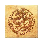 Traditional Vintage and Worn Chinese Dragon Circle Gallery Wrap Canvas