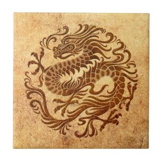 Traditional Vintage and Worn Chinese Dragon Circle Ceramic Tile