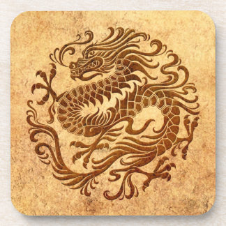 Traditional Vintage and Worn Chinese Dragon Circle Drink Coasters
