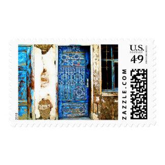 Traditional Vintage Old Greece Blue Door Postage
