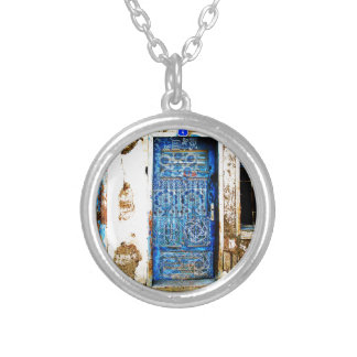Traditional Vintage Old Greece Blue Door Silver Plated Necklace