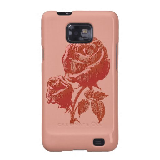 Traditional Vintage Victorian Pink Red Rosebud Art Galaxy SII Case