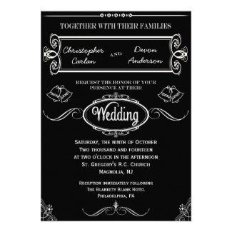 Traditional Wedding Bells Chalkboard Invitation