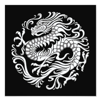 Traditional White and Black Chinese Dragon Circle Card