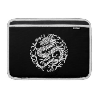 Traditional White and Black Chinese Dragon Circle MacBook Sleeve