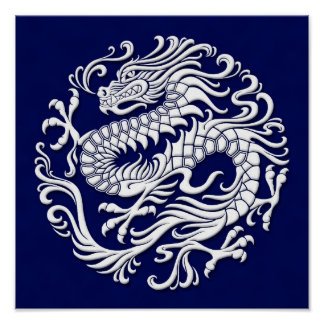 Traditional White and Blue Chinese Dragon Circle Poster