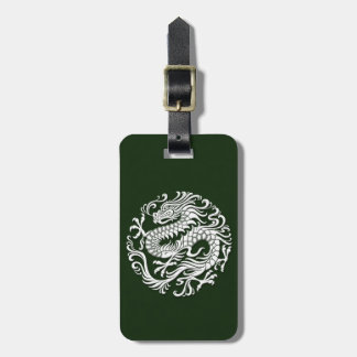 Traditional White and Green Chinese Dragon Circle Tags For Bags