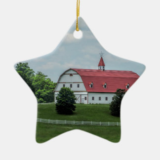 Traditional White and Red Barn Ceramic Ornament