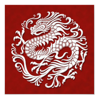 Traditional White and Red Chinese Dragon Circle Card