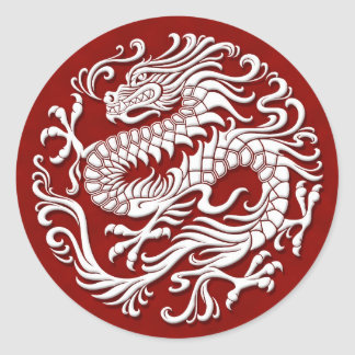 Traditional White and Red Chinese Dragon Circle Classic Round Sticker