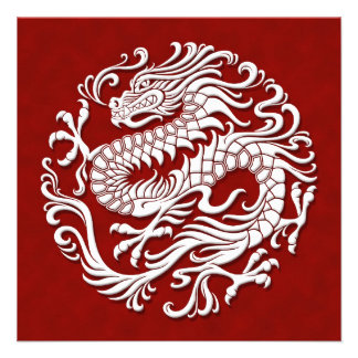 Traditional White and Red Chinese Dragon Circle Custom Announcements
